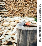firewood in woodpile under the... | Shutterstock . vector #1192688380