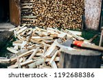 firewood in woodpile under the... | Shutterstock . vector #1192688386