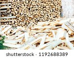 firewood in woodpile under the... | Shutterstock . vector #1192688389