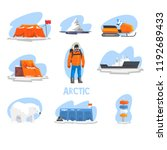 expedition to the arctic set ... | Shutterstock .eps vector #1192689433