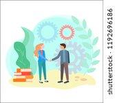 the handshake of partners in... | Shutterstock .eps vector #1192696186
