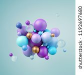 3d render  abstract blue violet ... | Shutterstock . vector #1192697680