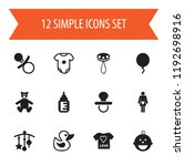 set of 12 editable kid icons.... | Shutterstock .eps vector #1192698916