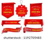 vector  red merry christmas... | Shutterstock .eps vector #1192705483