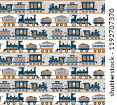 seamless vintage train railroad ... | Shutterstock .eps vector #1192707370