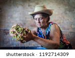 grape harvest  old woman keep... | Shutterstock . vector #1192714309