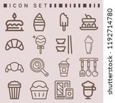 simple set of  16 outline icons ... | Shutterstock .eps vector #1192714780