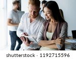 discussing new business project.... | Shutterstock . vector #1192715596