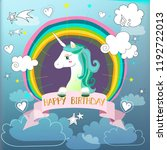 happy birthday card with cute... | Shutterstock . vector #1192722013