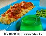 grade school lunch tray of... | Shutterstock . vector #1192722766