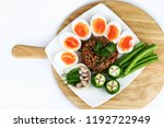 close up top view of thai food... | Shutterstock . vector #1192722949