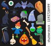 halloween vector spooky pumpkin ... | Shutterstock .eps vector #1192728499