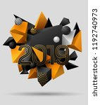 3d black and yellow geometric...   Shutterstock .eps vector #1192740973