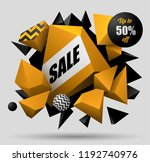 3d black and yellow geometric...   Shutterstock .eps vector #1192740976