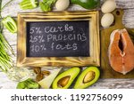 ketogenic low carbs diet... | Shutterstock . vector #1192756099