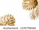 gold tropical palm leaves... | Shutterstock . vector #1192758460