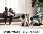 black family spend free time... | Shutterstock . vector #1192766320