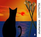 Black Cat On Ocean Sunset. 3d...