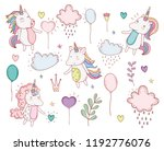 unicorns trendy with clouds and ... | Shutterstock .eps vector #1192776076
