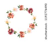 watercolor wreath with flowers... | Shutterstock . vector #1192776490