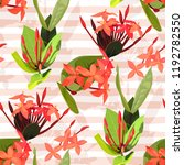 ixora flowers vector seamless... | Shutterstock .eps vector #1192782550
