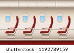 passenger plane interior.... | Shutterstock .eps vector #1192789159