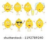 lemon funny characters. fresh... | Shutterstock .eps vector #1192789240