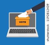 voting online concept in a flat ... | Shutterstock .eps vector #1192812439