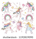 cute unicorns with rainbow... | Shutterstock .eps vector #1192819090