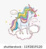 cute unicorn with horn in the... | Shutterstock .eps vector #1192819120