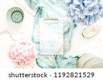 artist home office desk... | Shutterstock . vector #1192821529