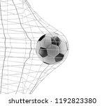 soccer ball soccer goal 3d... | Shutterstock . vector #1192823380