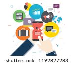 hand holding mobile phone on... | Shutterstock .eps vector #1192827283