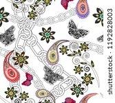 butterflies  paisley  flowers... | Shutterstock .eps vector #1192828003