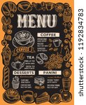 coffee menu template for... | Shutterstock .eps vector #1192834783