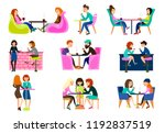 friends in a summer cafe are... | Shutterstock .eps vector #1192837519