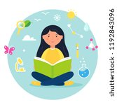 girl reading a book. science ... | Shutterstock .eps vector #1192843096