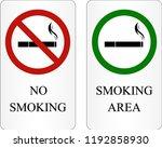 no smoking and smoking area... | Shutterstock .eps vector #1192858930