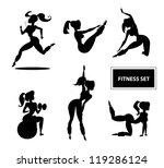 woman fitness set. vector... | Shutterstock .eps vector #119286124