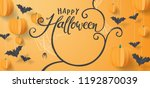 Stock vector happy halloween banners party invitation vector illustration calligraphy of halloween 1192870039