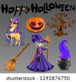 happy halloween text poster ... | Shutterstock .eps vector #1192876750