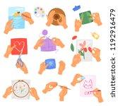 hobby hands vector instructions ... | Shutterstock .eps vector #1192916479