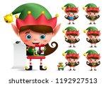 christmas elf vector character... | Shutterstock .eps vector #1192927513