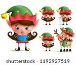 girl christmas elf vector... | Shutterstock .eps vector #1192927519