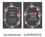 set of card with flower rose ... | Shutterstock .eps vector #1192943323