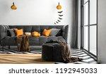 halloween party in living room  ... | Shutterstock . vector #1192945033