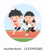 young man and woman jogging... | Shutterstock .eps vector #1192945360