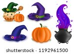set of halloween objects  food  ... | Shutterstock .eps vector #1192961500