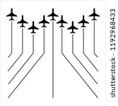 airplane flying formation  air... | Shutterstock .eps vector #1192968433