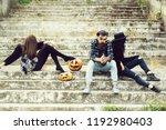 young halloween bearded man... | Shutterstock . vector #1192980403